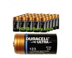 Pila de Litio para Alarma 3 Voltios Duracell CR123A 400 unidades
